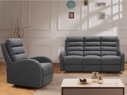 Couchgarnitur mit Relaxfunktion 3+1 GIORGIA - Stoff - Grau