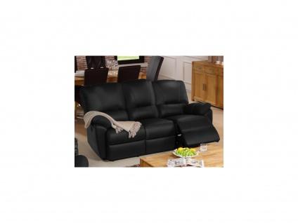 Relaxsofa 3-Sitzer Leder elektrisch Marcis - Schwarz
