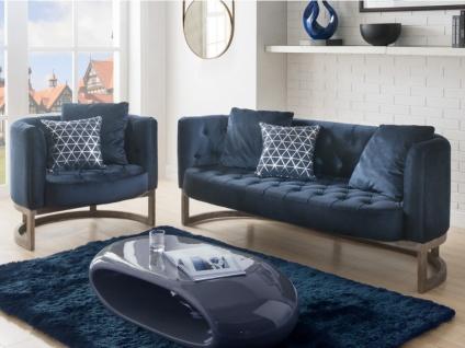 Couchgarnitur Samt CLIFORD 3+1 - Blau