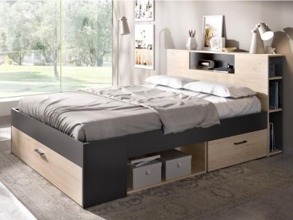 Bett mit Stauraum & Schubladen LEANDRE - 140x190 cm - Eiche & Anthrazit