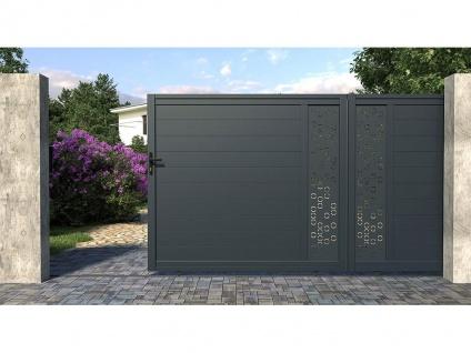 Gartentor Schiebetor NOIRAM - Aluminium - B392 x H173 cm