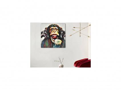 Ölgemälde handgemalt MONKEY - 100 x 100 cm - Mehrfarbig