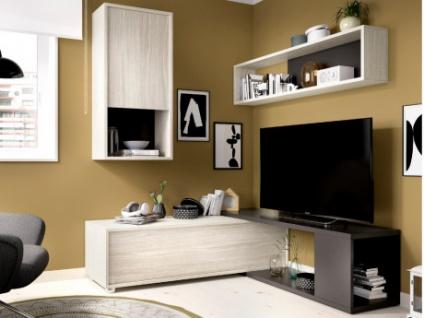 TV-Wand TV-Möbel mit Stauraum GAMBIE - Modulierbar - Anthrazit/Eichenholzfarben - Vorschau 1