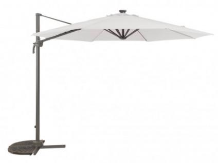 Sonnenschirm Stahl AIGNAN - Mit LED-Beleuchtung - Weiß