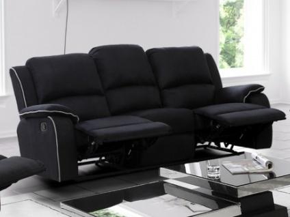 Relaxsofa Microfaser 3-Sitzer Herna - Schwarz