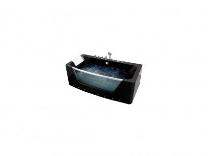 Whirlpool-Badewanne halb freistehend mit LED-Beleuchtung DYONA - Schwarz