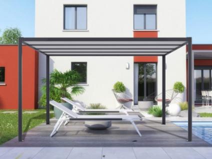 Terrassendach Aluminium selbsttragend mit LED-Beleuchtung NITERO - 394x294x230cm