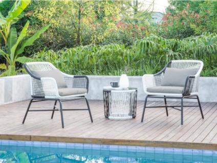 Garten Sitzgruppe ALMADA - Polyrattan & Glas: 2 Sessel & Beistelltisch