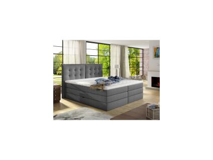 Boxspringbett Stoff mit Topper PLAISIR - 180 x 200 cm - Grau