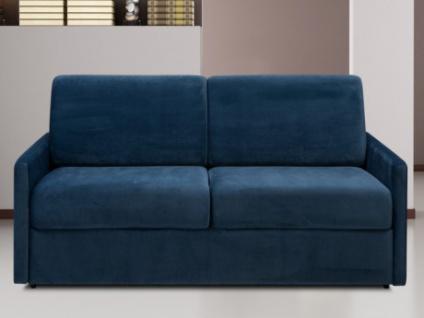 Schlafsofa 3-Sitzer Samt CALIFE - Dunkelblau - Liegefläche: 140 cm - Matratzenhöhe: 18cm