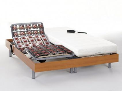 Matratzen elektrischer Lattenrost 2er-Set PERSEE von DREAMEA - Kirschholzfarben - 2x80x200 - Okin-Motor