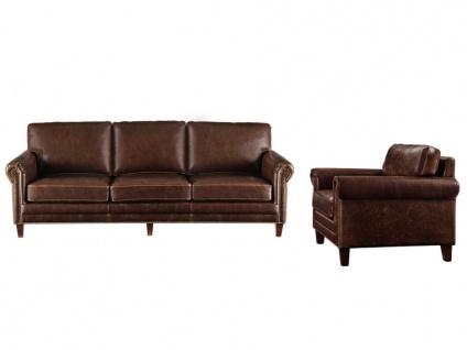 Couchgarnitur Leder 3+1 CASSANDRA - Braun