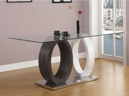 Esstisch Glas AYANE - Grau/Weiß