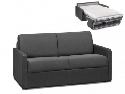 Schlafsofa 2-Sitzer Stoff CALIFE - Grau - Liegefläche: 120 cm - Matratzenhöhe: 14cm