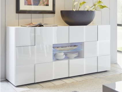 Sideboard mit LED-Beleuchtung CALISTO - Weiß lackiert