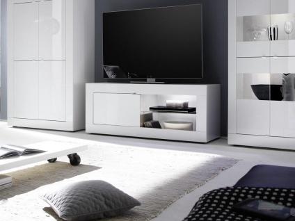 TV-Möbel mit LED-Beleuchtung COMETE - 1 Tür & 1 Ablage - Weiß lackiert & Betonfarben - Vorschau 5