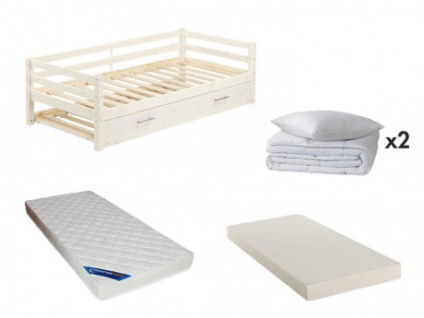 Sparset Kinderzimmer: Kinderbett AEDAN + Lattenrost + 2 Matratzen + Bettdecke + Kissen