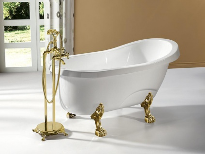 Freistehende Badewanne EGEE II - 171 L - Weiß mit goldfarbenen Füßen