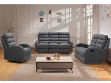 Couchgarnitur mit Relaxfunktion 3+2+1 GIORGIA - Stoff - Grau