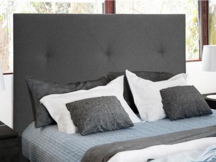 Kopfteil Bett ISABELLE - 140 cm - Stoff - Anthrazit