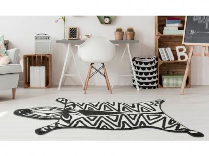 Kinderteppich in Zebra-Form ANIMALO - Polypropylen - 100 x 150 cm - Weiß & Schwarz