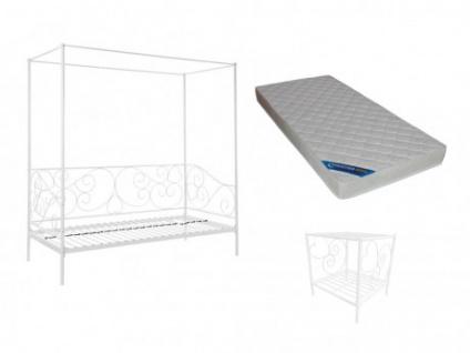 Sparset VIVIAN: Himmelbett + Nachttisch + Matratze - Weiß