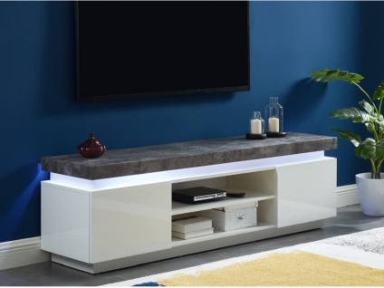 TV-Möbel mit LED-Beleuchtung HALO - 2 Türen - Weiß & Beton-Optik