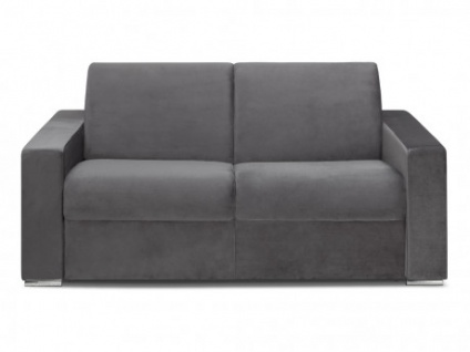Schlafsofa 2-Sitzer Samt CALITO - Anthrazit - Liegefläche: 120 cm - Matratzenhöhe: 14cm