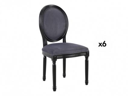Stuhl 6er-Set Samt Louis XVI - Grau - Vorschau 2