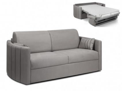 Schlafsofa Stoff Express Bettfunktion mit Matratze 3-Sitzer PHARAON - Grau