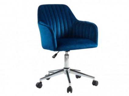 Bürostuhl Samt ELEANA - Höhenverstellbar - Blau