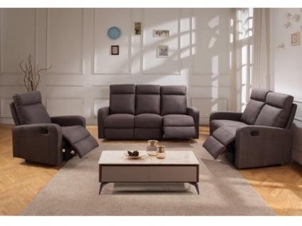 Couchgarnitur Relax Stoff 3+2+1 CARLINA - Braun