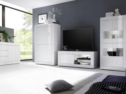 TV-Möbel mit LED-Beleuchtung COMETE - 1 Tür & 1 Ablage - Weiß lackiert