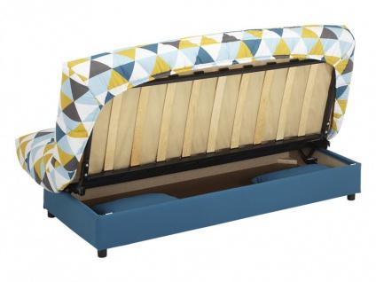 Schlafsofa Klappsofa mit Bettkasten Saloon - Motiv Triangle Blau - Vorschau 5