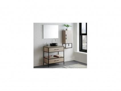 Komplettbad YAMINA - Unterschrank + Waschbecken + Spiegel + Oberschrank - Holz-Optik