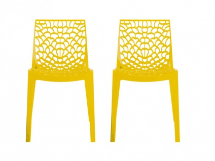 Stuhl 2er-Set stapelbar Diadem - Kunststoff - Gelb