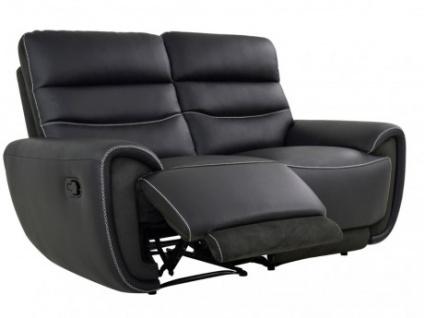 Relaxsofa Leder 2-Sitzer COSMY - Schwarz