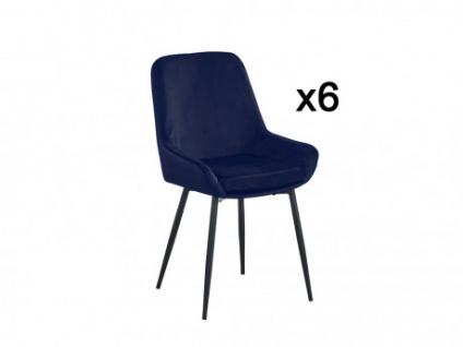 Stuhl 6er-Set BELIZE - Dunkelblau