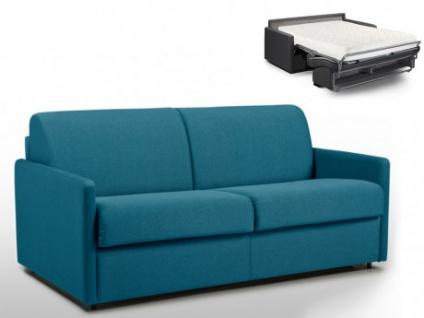 Schlafsofa 3-Sitzer Stoff CALIFE - Türkis - Liegefläche: 140 cm - Matratzenhöhe: 18cm
