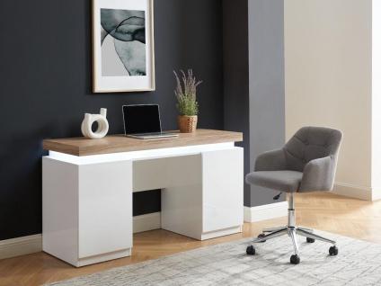 Schreibtisch mit LED-Beleuchtung & Stauraum HALO - Weiß & Eichefarben