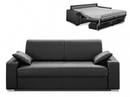 Schlafsofa 3-Sitzer EMIR - Schwarz - Liegefläche: 140cm - Matratzenhöhe: 14cm
