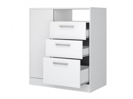 Kommode DEVY - 1 Ablage, 1 Tür & 3 Schubladen - Weiß - Vorschau 4