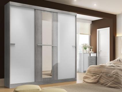 Kleiderschrank DIDDA - 3 Schiebetüren - Grau & Weiß - Vorschau 3