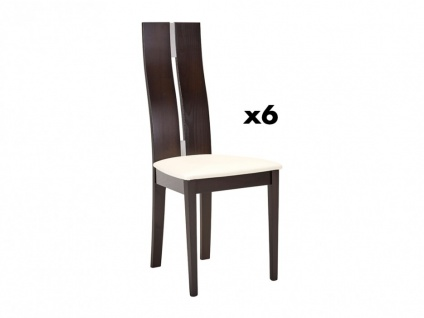 Stuhl 6er-Set Massivholz Salena - Wengefarben