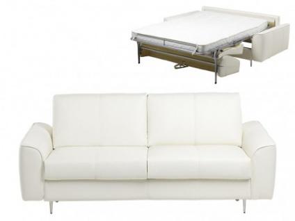 Schlafsofa Leder Express Bettfunktion mit Matratze 3-Sitzer Alphonse - Standardleder - Elfenbein
