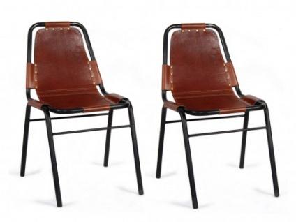 Stuhl 2er-Set Leder & Metall INDIANOLA