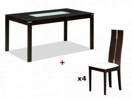 Essgruppe: Esstisch MAELIA + 4 Stühle SALENA