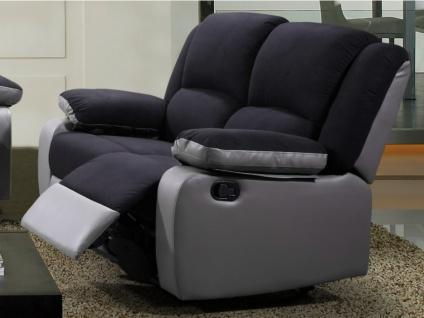 Relaxsofa 2-Sitzer BILSTON II - Schwarz & Grau