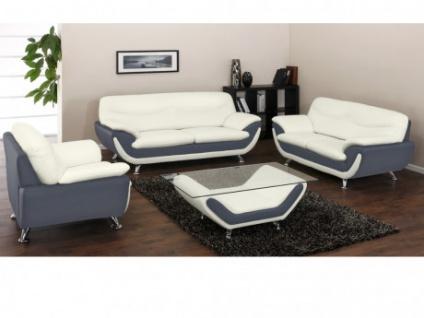 Couchgarnitur 3+2+1 Indiz & Couchtisch - Grau & Weiß