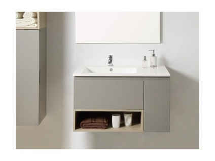 Komplettbad KLADE - Unterschrank + Waschbecken + Spiegel + Regal - Taupe lackiert - Vorschau 3
